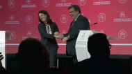 Denis Coderre and Valerie Plante exchanged a hug, kiss, and handshake before and after Thursday's debate.
