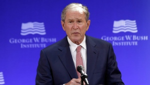 In this file photo, former U.S. President George W. Bush speaks at a forum sponsored by the George W. Bush Institute in New York, Thursday, Oct. 19, 2017. (AP /Seth Wenig)