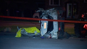 A smashed car lies on its side in Saint Charles Borromée on Oct. 20, 2017 (CTV Montreal/Cosmo Santamaria)
