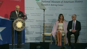 First Lady Melania Trump presents inaugural gown