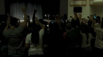 Protesters shout anti-Nazi chants outside