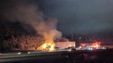 A truck caught fire in the eastbound lanes of Highway 401 between Highway 6 South and Guelph Line. (Joanne Doyle)