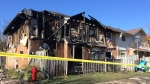A townhouse was destroyed by fire in Orangeville, Ont. on Friday, Oct. 20, 2017. (Rob Cooper/ CTV Barrie)