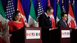 From left, Canadian Minister of Foreign Affairs Chrystia Freeland with United States Trade Representative Robert Lighthizer and Mexico's Secretary of Economy Ildefonso Guajardo Villarreal speaks during the conclusion of the fourth round of negotiations for a new North American Free Trade Agreement (NAFTA) in Washington, Tuesday, Oct. 17, 2017. (Manuel Balce Ceneta / AP Photo)