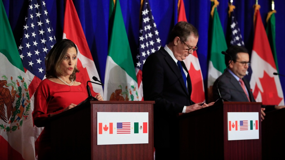 From left, Minister of Foreign Affairs Chrystia Freeland with U.S. Trade Representative Robert Lighthizer and Mexico's Secretary of Economy Ildefonso Guajardo Villarreal after NAFTA talks in Washington, on Oct. 17, 2017. (Manuel Balce Ceneta / AP)