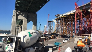 Support pillars for the new Champlain Bridge are under construction on Oct. 20, 2017 (CTV Montreal/Stephane Giroux)