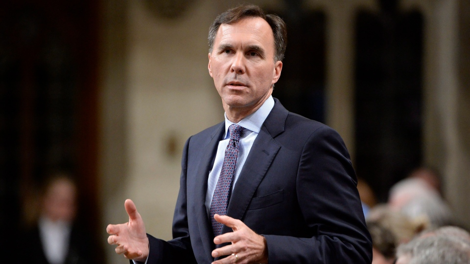 Minister of Finance Bill Morneau speaks during Question Period on Parliament Hill, in Ottawa on Thursday, Oct. 19, 2017. (THE CANADIAN PRESS/Adrian Wyld)