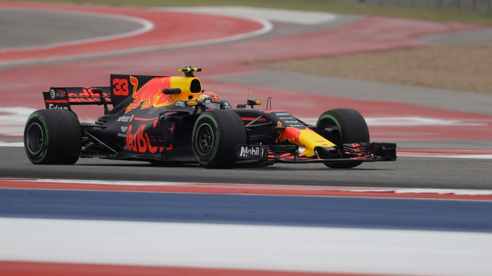 Red Bull driver Max Verstappen, of the Netherlands, drives his car during the first practice session for the Formula One U.S. Grand Prix auto race at the Circuit of the Americas, Friday, Oct. 20, 2017, in Austin, Texas. (AP Photo/Eric Gay)