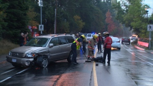 Police say the young male was on the crosswalk at Interurban Road and Columbine Way. Oct. 20, 2017 (CTV Vancouver Island)