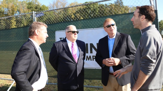 Gov. Larry Hogan (second from left) announces his support for the start of tunneling by The Boring Company, in Anne Arundel County, Md., on Thursday, Oct. 19, 2017. (Larry Hogan/Facebook)