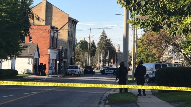 Police blocked off a section of Downie Street in Stratford for an investigation on Friday, Oct. 20, 2017. (Tina Yazdani / CTV Kitchener)