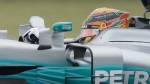 Mercedes driver Lewis Hamilton, of Britain, drives his car during the first practice session for the Formula One U.S. Grand Prix auto race at the Circuit of the Americas, Friday, Oct. 20, 2017, in Austin, Texas. (AP Photo/Darron Cummings)