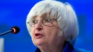 In this Sunday, Oct. 15, 2017, file photo, U.S. Federal Reserve Chair Janet Yellen speaks during the G30 International Banking Seminar, at Inter-American Development Bank headquarters in Washington. ( AP Photo / Jose Luis Magana, File)