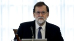 Spain's Prime Minister Mariano Rajoy presides over a Cabinet meeting in Madrid, Spain, Saturday, Oct. 21, 2017. (Juan Carlos Hidalgo, Pool Photo via AP)