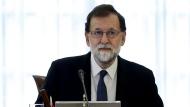 Spain's Prime Minister Mariano Rajoy presides over a Cabinet meeting in Madrid, Spain, Saturday, Oct. 21, 2017. (Juan Carlos Hidalgo, Pool Photo via AP)