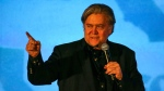 Steve Bannon, a former White House adviser to U.S. President Donald Trump, speaks at the California Republican Convention in Anaheim, Calf., on Friday Oct. 20, 2017. (AP Photo/Ringo H.W. Chiu)
