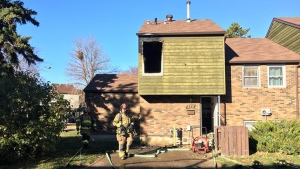 Fire crews helped a woman and five children get out safely from this northeast Edmonton home during a fire on Saturday, October 21, 2017.