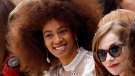 In this Thursday, March 2, 2017 file photo, singer Solange Knowles, left, and french actress Isabelle Huppert, right, look on prior to the show for Chloe's Fall-Winter 2017-2018 ready to wear fashion collection presented in Paris. (AP / Francois Mori, File)