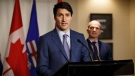 Prime Minister Justin Trudeau speaks during a media availability at the Fairmont Hotel Macdonald in Edmonton, Alta., on Saturday, Oct. 21, 2017. (Codie McLachlan/THE CANADIAN PRESS)