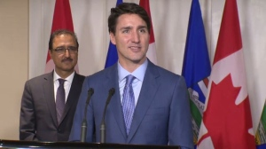 Prime Minister Justin Trudeau spoke to the media in Edmonton on Saturday, October 21, 2017.