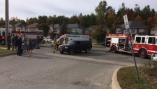 Police, EMS and firefighters respond to crash between pick-up truck and cyclist in Barrie on October 21, 2017.