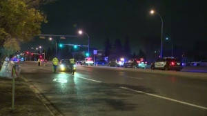 A woman is dead after she was hit by a vehicle on a marked crosswalk in west Edmonton on October 11, 2017.