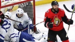 Ottawa Senators centre Nate Thompson (17) celebrates his goal against the Toronto Maple Leafs during first period NHL hockey action in Ottawa on Saturday, October 21, 2017. (THE CANADIAN PRESS / Fred Chartrand)