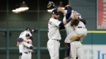 The Houston Astros celebrate after Game 7 of baseball's American League Championship Series against the New York Yankees Saturday, Oct. 21, 2017, in Houston. The Astros won 4-0 to win the series. (AP Photo / David J. Phillip)