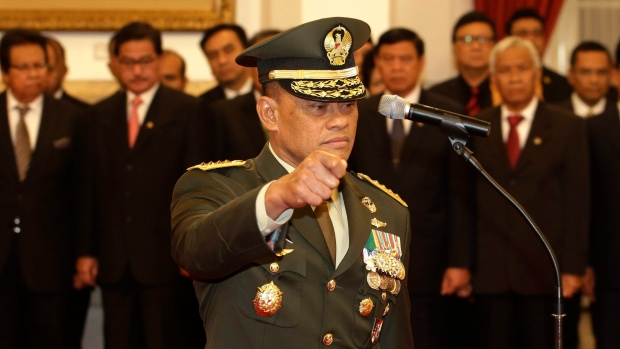 Indonesia's Armed Forces Chief Gen. Gatot Nurmantyo is shown at the presidential palace in Jakarta, Indonesia, Wednesday, July 8, 2015. (AP / Achmad Ibrahim)