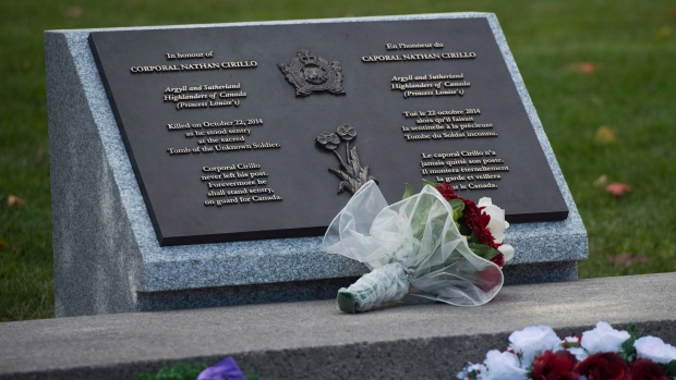 A plaque at the National War Memorial in Ottawa in honour of Cpl. Nathan Cirillo. (THE CANADIAN PRESS / Sean Kilpatrick)