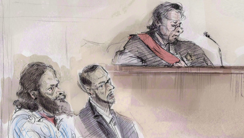 In an artist's sketch, Chiheb Esseghaier (left) and Raed Jaser (centre) appear in court in Toronto on Thursday, March 5, 2015 as Justice Michael Code looks on. (Alexandra Newbould/The Canadian Press)