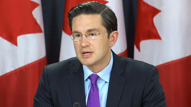 Conservative finance critic Pierre Poilievre speaks to the media in Ottawa on Sunday, Oct. 22, 2017.
