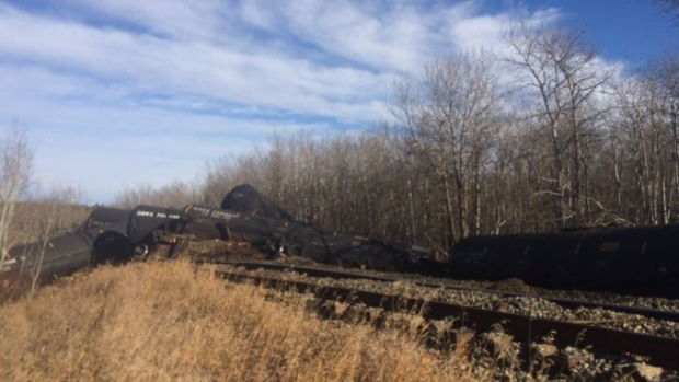 Crews still cleaning up after train derailment, spill in Sturgeon County