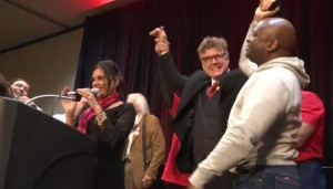 Dougald Lamont, 48, was elected Saturday night at the Liberal Leadership Convention in Winnipeg.