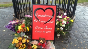 A memorial is seen outside of City Hall in Fernie, B.C. on Friday, October 20, 2017.  (THE CANADIAN PRESS/Lauren Krugel)