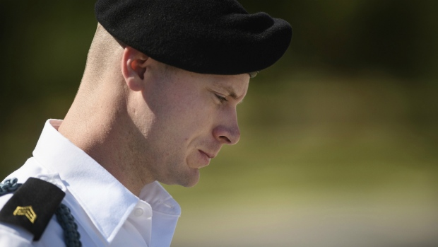 U.S. Army Sgt. Bowe Bergdahl leaves a motions hearing during a lunch break in Fort Bragg, N.C. on Sept. 27, 2017. (Andrew Craft / The Fayetteville Observer)