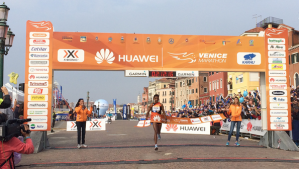 Italian Eyob Faniel crossing the Venice Marathon finish line. (Source: Venicemarathon_official/Instagram)