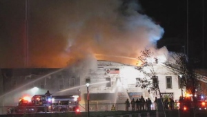 Crews battle a major structure fire at the former Cleve's building in Bridgewater, N.S. (Keith Corcoran/LighthouseNow/Vimeo)