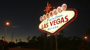 The 'Welcome to Fabulous Las Vegas' neon sign, on Oct. 4, 2012 (Sam Morris/Las Vegas Sun via AP, File)