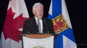 Former Ontario premier Bob Rae speaks at a celebration of the life of Allan MacEacheni n Antigonish, N.S. on Sunday, Sept. 17, 2017. (Andrew Vaughan / THE CANADIAN PRESS)