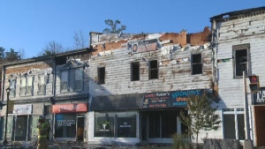 Several businesses are destroyed after a fire ripped through the former Cleve's building in downtown Bridgewater, N.S.
