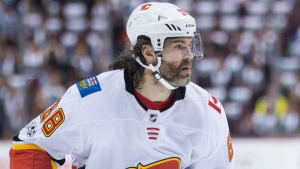 Calgary Flames' Jaromir Jagr, of the Czech Republic, skates during first period NHL hockey action against the Vancouver Canucks, in Vancouver on Saturday, October 14, 2017. (Darryl Dyck / THE CANADIAN PRESS)