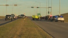 Police and emergency crews on the scene of a fatal collision on 184 St. at Anthony Henday Dr. on Monday, October 23, 2017.