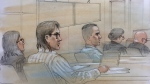 Mark Smich and Dellen Millard appear in court on charges of murder in the death of Laura Babcock. (Sketch by John Mantha)