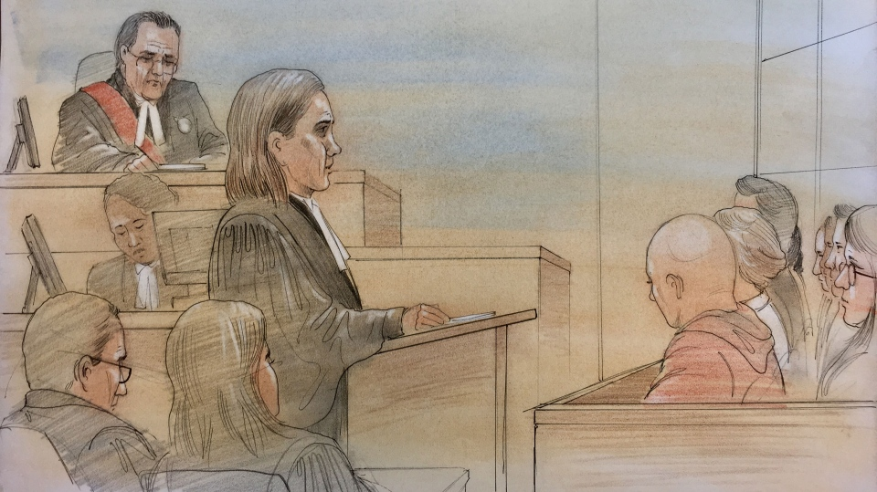 Crown Attorney Cameron provides opening remarks in the trial of Mark Smich and Dellen Millard. (Sketch by John Mantha)
