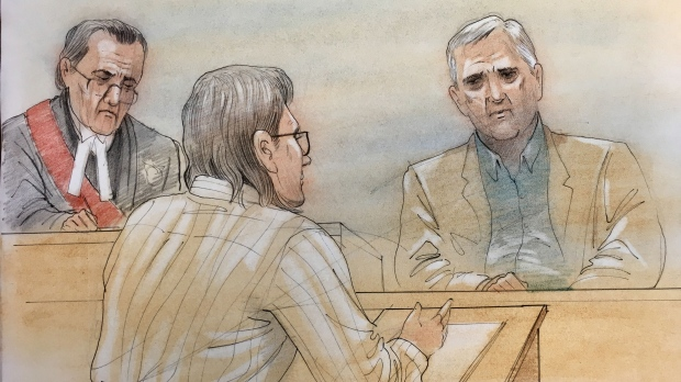 Dellen Millard questions Laura Babcock's father during the first trial date on October 23, 2017. (Sketch by John Mantha)