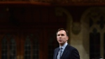 Minister of Finance Bill Morneau stands during question period in the House of Commons on Parliament Hill in Ottawa on Monday, Oct. 23, 2017. (Sean Kilpatrick / THE CANADIAN PRESS)