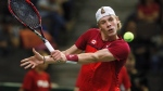 Canada's Denis Shapovalov returns the ball against India's Ramkumar Ramanathan during Davis Cup singles tennis in Edmonton, Alta., on Sunday, September 17, 2017. (THE CANADIAN PRESS/Jason Franson)