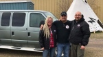 Anita Munn, James Favel and Darrell Manuliak pictured above after the van was donated to the Bear Clan Patrol. (Source: Anita Munn)