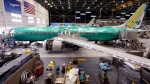 FILE - In this Monday, Feb. 13, 2017, file photo, the first of the large Boeing 737 MAX 9 models is shown in Renton, Wash. (AP Photo/Elaine Thompson)